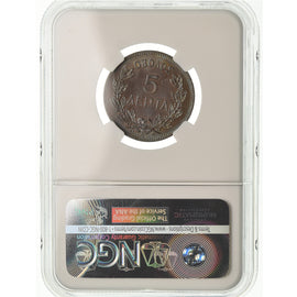 Coin, Greece, George I, 5 Lepta, 1882, Paris, NGC, MS65BN, Copper, KM:54