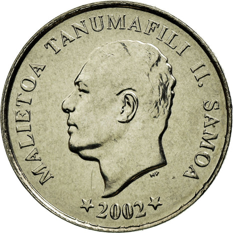 Coin, Samoa, 5 Sene, 2002, AU(55-58), Copper-nickel, KM:131