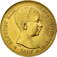 Coin, Spain, Alfonso XIII, 20 Pesetas, 1887, Madrid, Restrike, MS(63), Gold