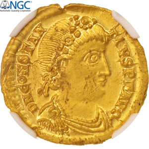 Constantius III, Solidus, Ravenna, graded, NGC, Choice AU, Gold, RIC:1325