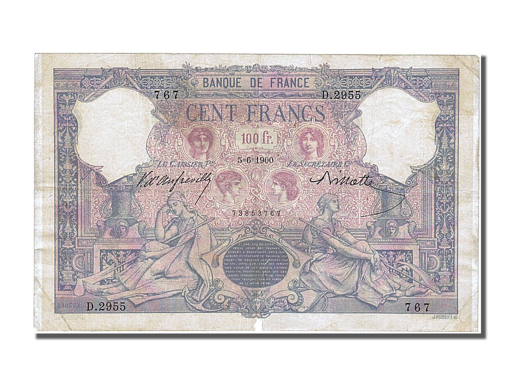 France, 100 Francs, 100 F 1888-1909 ''Bleu et Rose'', 1900, KM #65c,...