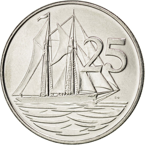 CAYMAN ISLANDS, 25 Cents, 2002, British Royal Mint, KM #134, MS(63), Nickel...