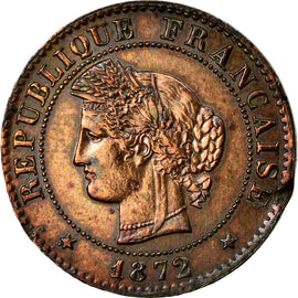 Coin, France, Cérès, Centime, 1872, Bordeaux, EF(40-45), Bronze, KM:826.2
