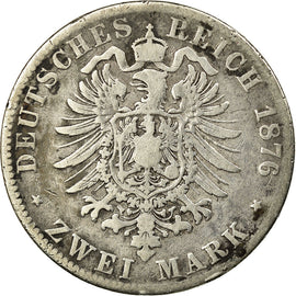 Coin, German States, BADEN, Friedrich I, 2 Mark, 1876, Stuttgart, VF(20-25)