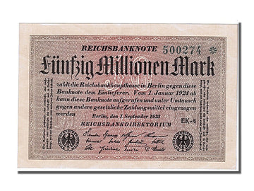 Germany, 50 Millionen Mark, 1923, KM #109a, 1923-09-01, UNC(65-70), 500274