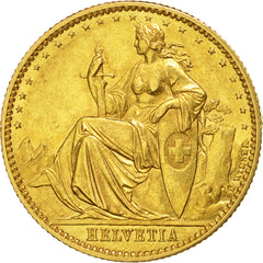 Switzerland, 20 Francs, 1873, Brussels, Probe, MS(60-62), Gold, KM:Pn24