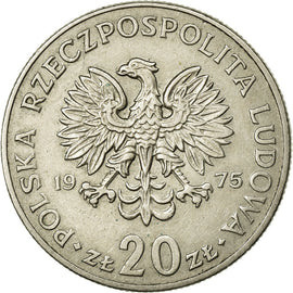 Coin, Poland, 20 Zlotych, 1975, AU(50-53), Copper-nickel, KM:69