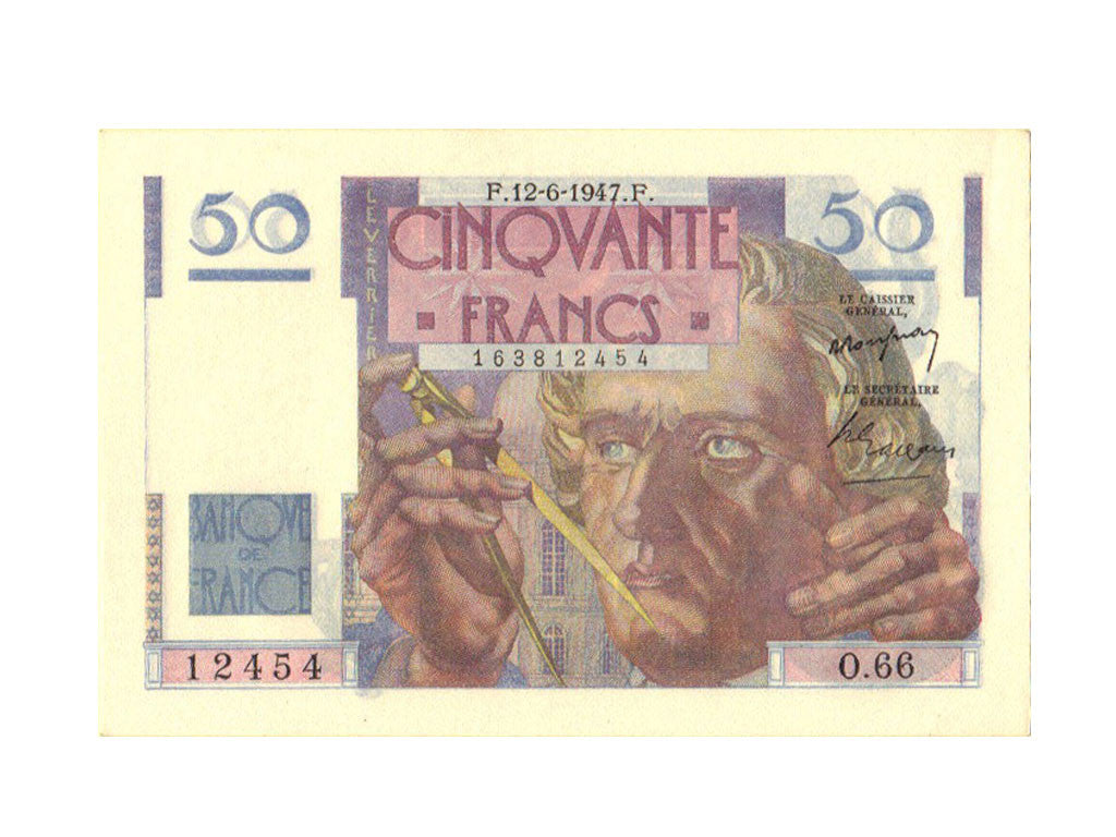 France, 50 Francs, 50 F 1946-1951 ''Le Verrier'', 1947, KM #127b, 1947-06-12,...