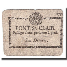 France, 1 Bon point, 1791, PONT-SAINT-CLAIR, VF(20-25)