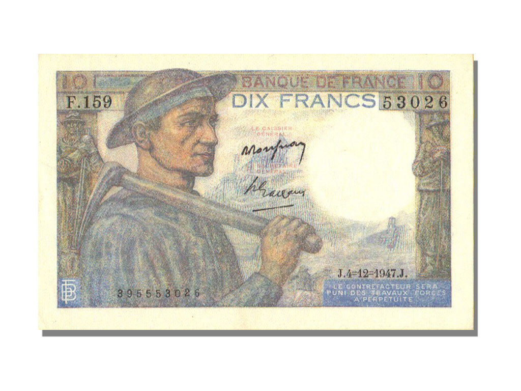 France, 10 Francs, 10 F 1941-1949 ''Mineur'', 1943, KM #99f, 1947-12-04,...