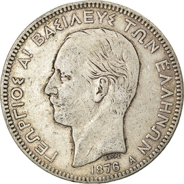 Coin, Greece, George I, 5 Drachmai, 1876, Paris, VF(20-25), Silver, KM:46