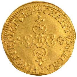 Coin, France, Ecu d'or, 1633, Rouen, AU(50-53), Gold, Gadoury:55