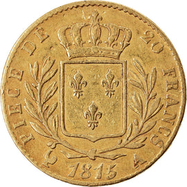 Coin, France, Louis XVIII, 20 Francs, 1815, Paris, VF(30-35), Gold, KM:706.1