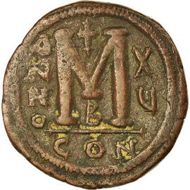 Coin, Justinian I, Follis, 541-542, Constantinople, VF(30-35), Copper, Sear:163