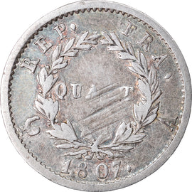 Coin, France, Napoléon I, 1/4 Franc, 1807, Paris, VF(30-35), Silver, KM:678.1