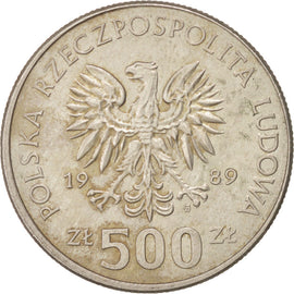 POLAND, 500 Zlotych, 1989, Warsaw, KM #194, EF(40-45), Copper-Nickel, 29.5,...