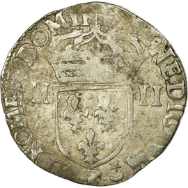 Coin, France, Henri IV, 1/4 Ecu, 1610, Angers, VF(20-25), Silver, Sombart:4678