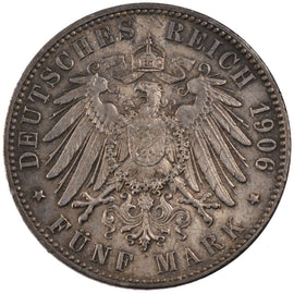 GERMAN STATES, 5 Mark, 1906, Hambourg, KM #251, graded, PCGS, , Silver, 38,...