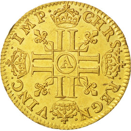 Coin, France, 1/2 Louis d'or, 1643, Paris, AU(50-53), Gold, KM:101, Gadoury:57