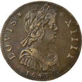 France, Token, Royal, Louis XIII et Louis XIV, 1644, EF(40-45), Copper