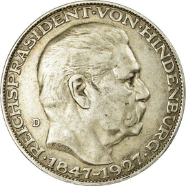 Coin, GERMANY, WEIMAR REPUBLIC, 5 Mark, 1927, Munich, EF(40-45), Silver, KM:1