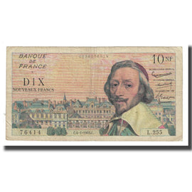 France, 10 Nouveaux Francs, Richelieu, 1963, P. Rousseau and R. Favre-Gilly