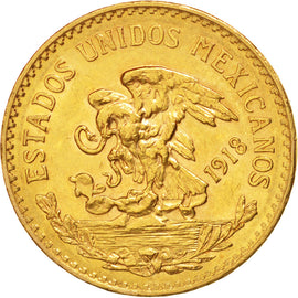 MEXICO, 20 Pesos, 1918, Mexico City, KM #478, AU(55-58), Gold, 27.5, 16.64
