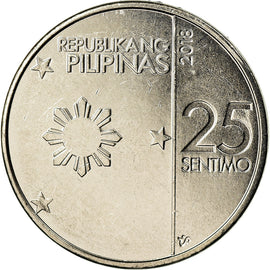 Coin, Philippines, 25 Sentimos, 2018, MS(63), Nickel plated steel