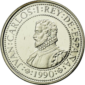 Coin, Spain, Juan Carlos I, 200 Pesetas, 1990, Madrid, MS(65-70), Silver, KM:856