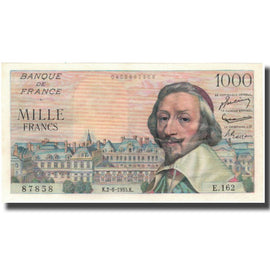 France, 1000 Francs, Richelieu, 1955, 1955-06-02, UNC(60-62), Fayette:42.14