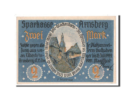 Germany, Arnsberg, 2 Mark, 1921, UNC(65-70), 038000, Mehl #42.1