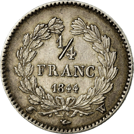 Coin, France, Louis-Philippe, 1/4 Franc, 1844, Lille, AU(50-53), Silver
