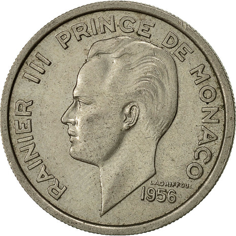 Monaco, Rainier III, 100 Francs, Cent, 1956, AU(55-58), Copper-nickel, KM:134