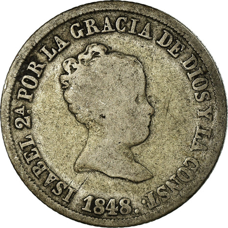 Coin, Spain, Isabel II, 2 Reales, 1848, Seville, F(12-15), Silver, KM:526.1
