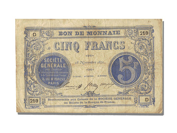 FRANCE, Paris, 5 Francs, 1871, 1871-11-18, AU(50-53), D.259, Jérémie #75.02.C