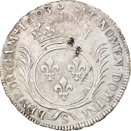 Coin, France, Louis XIV, Ecu aux palmes, 1693, Reims, AU(50-53), Silver