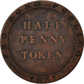 Coin, Isle of Man, 1/2 Penny, 1831, VF(30-35), Copper, KM:Tn21.1
