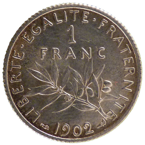 Coin, France, Semeuse, Franc, 1902, Paris, MS(65-70), Silver, Gadoury:467