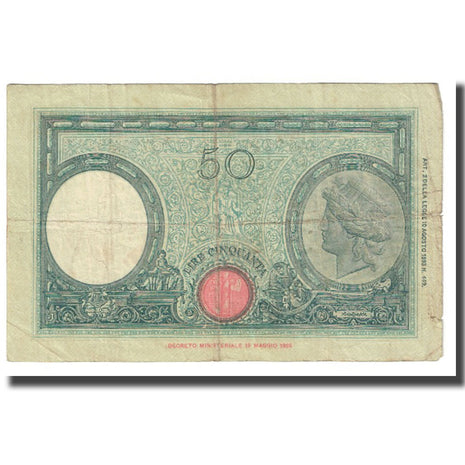 Banknote, Italy, 50 Lire, 1896, KM:64, VF(20-25)