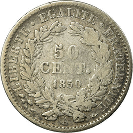 Coin, France, 50 Centimes, 1850, Paris, VF(20-25), Silver, KM:769.1, Gadoury:411
