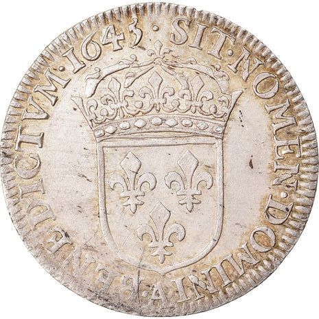Coin, France, Louis XIV, 1/4 Écu à la mèche courte, 1/4 Ecu, 1645, Paris