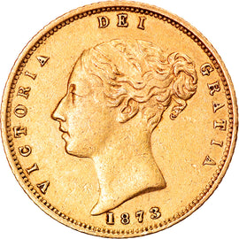Coin, Great Britain, Victoria, 1/2 Sovereign, 1873, London, AU(50-53), Gold