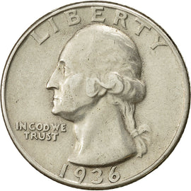 coin, United States, Washington Quarter, Quarter, 1936, U.S. Mint, Philadelphia