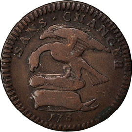 Coin, Isle of Man, 1/2 Penny, 1733, VF(30-35), Copper, KM:3