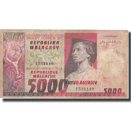 Banknote, Madagascar, 5000 Francs = 1000 Ariary, KM:66a, VF(20-25)