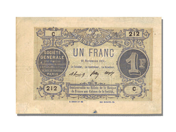FRANCE, Paris, 1 Franc, 1871, 1871-11-18, AU(55-58), C.212, Jérémie #75.02.A