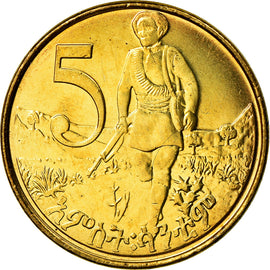 Coin, Ethiopia, 5 Cents, 2004, MS(65-70), Brass plated steel, KM:44.3