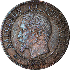Coin, France, Napoleon III, 2 Centimes, 1855, Lyon, F(12-15)