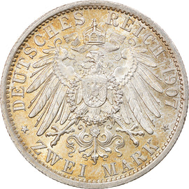 Coin, German States, PRUSSIA, Wilhelm II, 2 Mark, 1907, Berlin, MS(60-62)