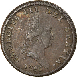 Coin, Isle of Man, George III, 1/2 Penny, 1786, EF(40-45), Copper, KM:8